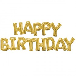 HAPPY BIRTHDAY GOLD PHRASE SHAPE P55 PKT