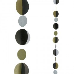GOLD SILVER & BLACK CIRCLES 1.2m BALLOON TAILS