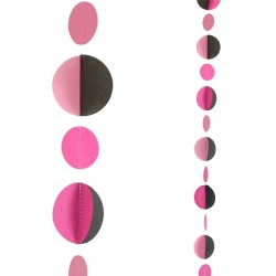 PINK & BLACK CIRCLES 1.2m BALLOON TAILS