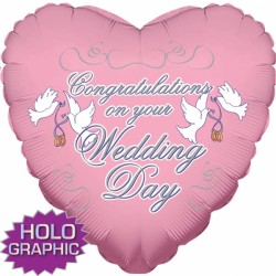 "CONGRATS ON YOUR WEDDING DAY PINK 18"" SALE"