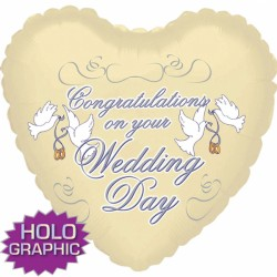 "CONGRATS ON YOUR WEDDING DAY IVORY 18"" SALE"