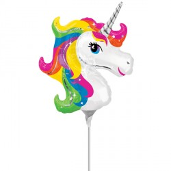 UNICORN HEAD RAINBOW MINI SHAPE A30 INFLATED WITH CUP & STICK