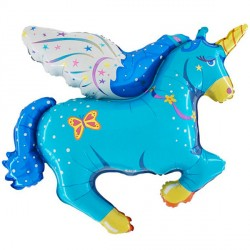 FLYING UNICORN BLUE VENDOR SHAPE FLAT