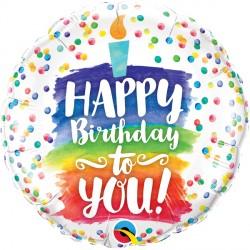 "RAINBOW CAKE HAPPY BIRTHDAY TO YOU 18"" PKT IF"