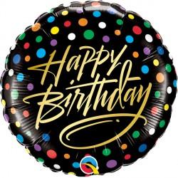 "GOLD SCRIPT & DOTS BIRTHDAY 18"" PKT IF"