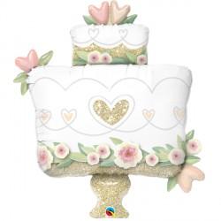 "GLITTER GOLD WEDDING CAKE 41"" SHAPE GROUP C PKT"