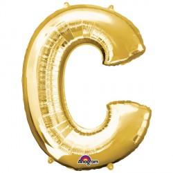 """GOLD LETTER C 16"""" SHAPE A04 PKT (5CT)"""