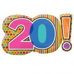 DOTS & STRIPES 20 BIRTHDAY SHAPE SALE