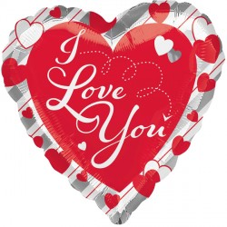 RED HEART & SILVER STRIPES I LOVE YOU STANDARD S40 PKT