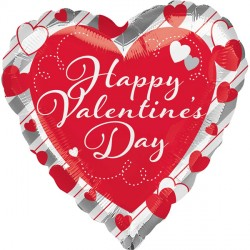 RED HEART & SILVER STRIPES VALENTINE'S DAY STANDARD S40 PKT