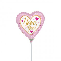 "PINK & GOLD I LOVE YOU 9"" A15 INFLATED WITH CUP & STICK"