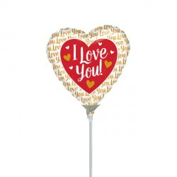 "GOLD I LOVE YOU 4"" A10 INFLATED WITH CUP & STICK"