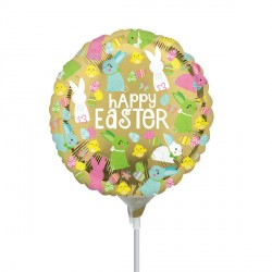 "GOLD HAPPY EASTER 9"" A15 INFLATED WITH CUP & STICK"