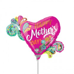 PAISLEY HEART MOTHER'S DAY MINI SHAPE A30 INFLATED WITH CUP & STICK