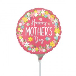 "FLORAL WREATH HAPPY MOTHER'S DAY 9"" A15 INFLATED WITH CUP & STICK"