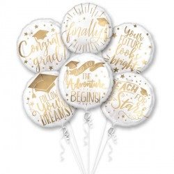 GRAD MESSAGES 6 BALLOON BOUQUET P60 PKT (3CT)