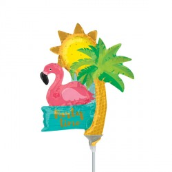 LET'S FLAMINGLE PARTY TIME MINI SHAPE A30 INFLATED WITH CUP & STICK