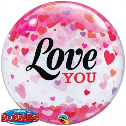 "CONFETTI HEARTS LOVE YOU 22"" SINGLE BUBBLE"