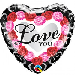 "RED ROSE FRAME LOVE YOU 18"" PKT IF"