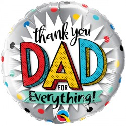 """THANK YOU DAD FOR EVERYTHING 18"""" PKT"""