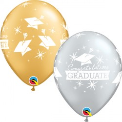 "CAPS CONGRATULATIONS GRADUATE 11"" SILVER & GOLD (25CT)"