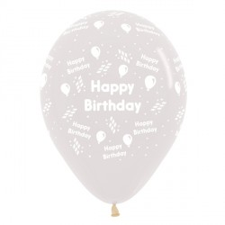 "STREAMER HAPPY BIRTHDAY 12"" CLEAR SEMPERTEX (25CT)"
