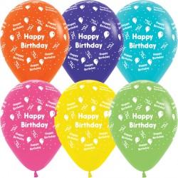 "STREAMER HAPPY BIRTHDAY 12"" TROPICAL ASST SEMPERTEX (25CT)"