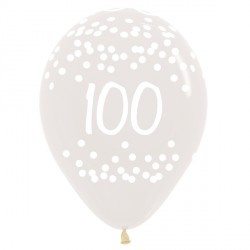 "100 POLKA DOTS 12"" CLEAR SEMPERTEX (25CT)"