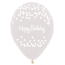 "POLKA DOTS HAPPY BIRTHDAY 12"" CLEAR SEMPERTEX (25CT)"
