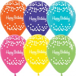 "POLKA DOTS HAPPY BIRTHDAY 12"" TROPICAL ASST SEMPERTEX (25CT)"