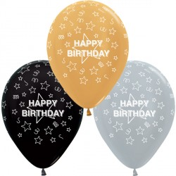 "STARS HAPPY BIRTHDAY 12"" SILVER, GOLD & BLACK ASST SEMPERTEX (25CT)"