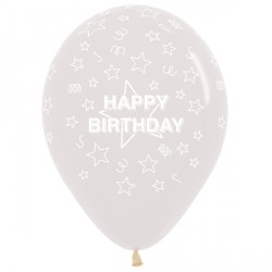 "STARS HAPPY BIRTHDAY 12"" CLEAR SEMPERTEX (25CT)"