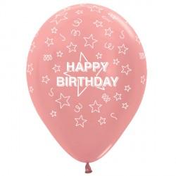 "STARS HAPPY BIRTHDAY 12"" ROSE GOLD SEMPERTEX (25CT)"