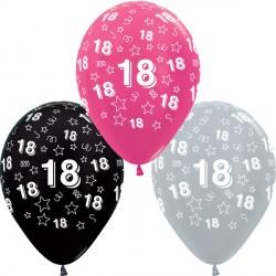 "18 STARS 12"" SILVER, FUCHSIA & BLACK ASST SEMPERTEX (25CT)"
