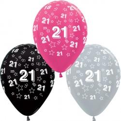 "21 STARS 12"" SILVER, FUCHSIA & BLACK ASST SEMPERTEX (25CT)"