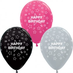 "STARS HAPPY BIRTHDAY 12"" SILVER, FUCHSIA & BLACK ASST SEMPERTEX (25CT)"