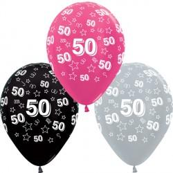 "50 STARS 12"" SILVER, FUCHSIA & BLACK ASST SEMPERTEX (25CT)"