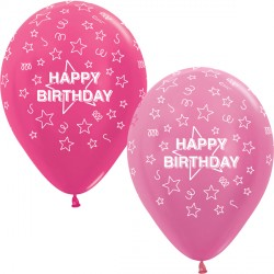 "STARS HAPPY BIRTHDAY 12"" PINK MIX SEMPERTEX (25CT)"