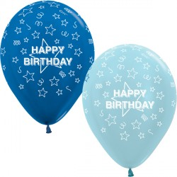 "STARS HAPPY BIRTHDAY 12"" BLUE MIX SEMPERTEX (25CT)"