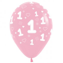 "1ST BIRTHDAY GIRL 12"" PINK SEMPERTEX (25CT)"