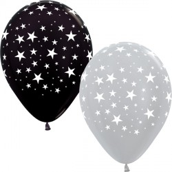 "STARS 12"" SILVER & BLACK ASST SEMPERTEX (25CT)"