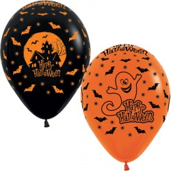 "HALLOWEEN NIGHT 12"" ORANGE & BLACK ASST SEMPERTEX (25CT)"