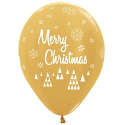 "CHRISTMAS SCRIPT 12"" GOLD SEMPERTEX (25CT)"