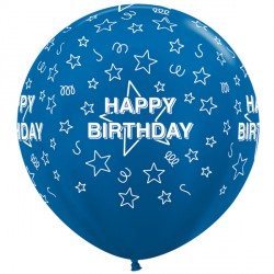 "STARS HAPPY BIRTHDAY 36"" BLUE SEMPERTEX (2CT)"