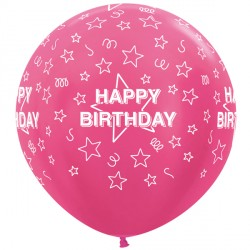"STARS HAPPY BIRTHDAY 36"" FUCHSIA SEMPERTEX (2CT)"