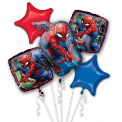SPIDER-MAN 5 BALLOON BOUQUET P75 PKT (3CT)