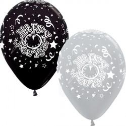 "NEW YEAR 12"" SILVER & BLACK SEMPERTEX (25CT)"