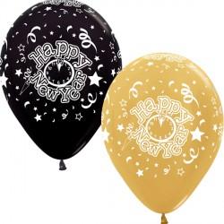 "NEW YEAR 12"" GOLD & BLACK SEMPERTEX (25CT)"