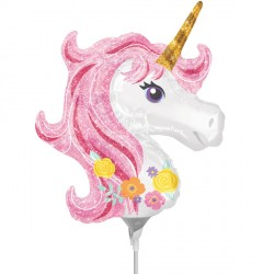 UNICORN HEAD MAGICAL MINI SHAPE A30 INFLATED WITH CUP & STICK
