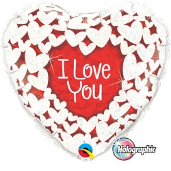 "GLITTER HEARTS I LOVE YOU 36"" JUMBO PKT"